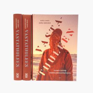 Kirja, Vastatuuleen. Kannen naisella on silkkihuivi puettu päähän kasvojen eteen.