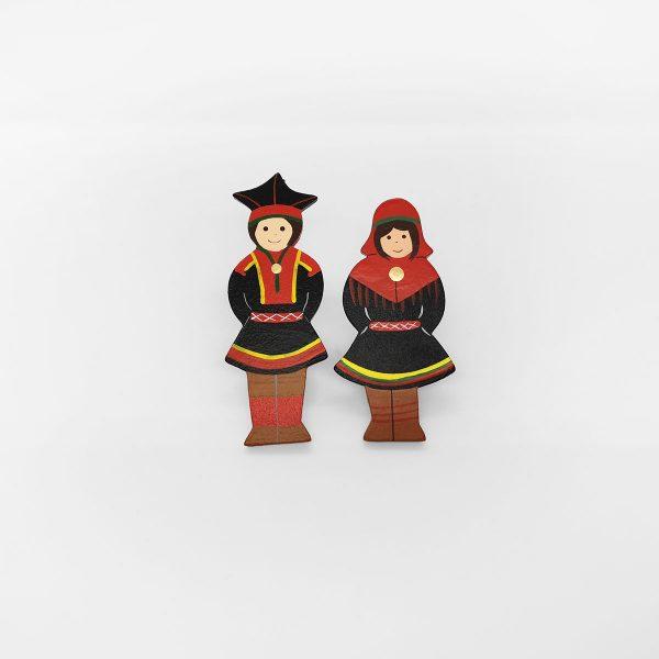 Saamenpuku magneetti tyttö ja poika, Inarin puku