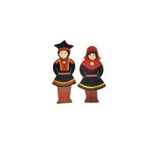 Saamen poika ja tyttö magneetit Inarin puvuissa