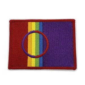 Sympoli, jossa on osa saamenlipusta tehdystä Pride lipusta. Värikäs, oikealla violettia ja vasemmalla sateenkaaren raidat.